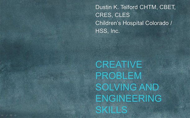 Dustin Telford at MD Expo - Creative Problem Solving and Engineering Skills for the Biomedical Equipment Technician