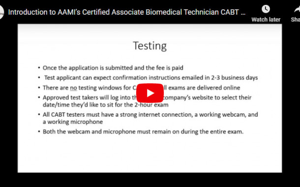 Introduction to AAMI's Certified Associate Biomedical Technician (CABT) Certification