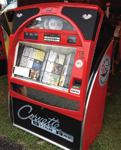 This jukebox makeover included a corvette logo.